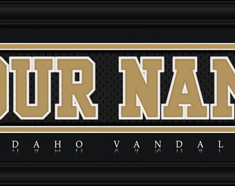 """University of Idaho Vandals NCAA Framed Personalized Jersey Nameplate College Sports  Home  Decor 22""""x6"""" Free Shipping"""