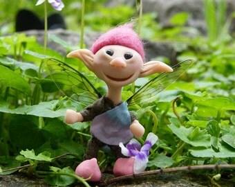 Miniature  fairy doll - medium pink