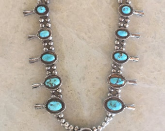 "Turquoise & Sterling Silver Navajo Squash Blossom Necklace, Vintage/Estate  (30"" long)"