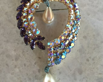 Vintage Rhinestone Brooch Purple Blue Crystals and Faux Pearls