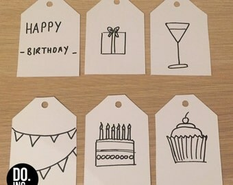 Birthday Gift Tags // Hand Drawn // Black and White