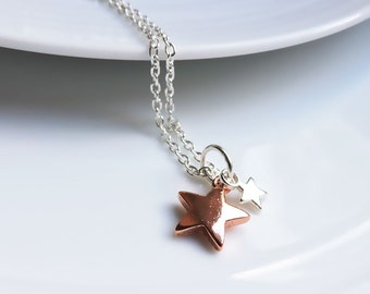 Rose gold & silver star pendant - Dual star necklace, duo tone charm pendant, luck charm pendant