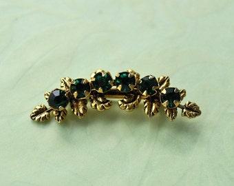 Vintage Dark Green Stone Brooch, Gold Tone, Faux Emerald Brooch, Green Pin, Green and Gold, Gold and Green, Small Brooch, Green Brooch GS748
