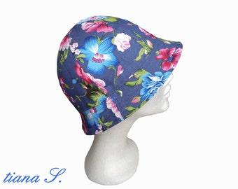 Denim hat, blue - pink, one size