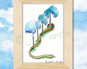 Drawing watercolor snake
