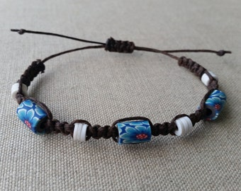 Square Knot Brown Thread Bracelet with Blue Flower Beads and White Beads, Macrame