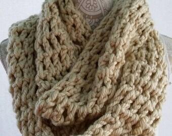 Los Angeles Tan Infinity Crochet Scarf