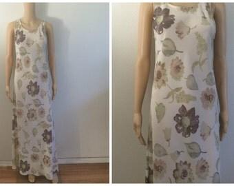 Maxi Dress / Floral Groovy Dress / 90s Flower Dress / Brown Dress