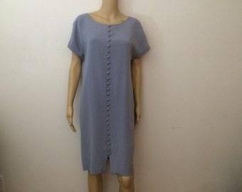 SILK LARGE MOD Jones New York Dress / Mint  Dress / Powder Blue / Buttons