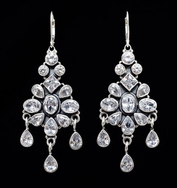 Chandelier earrings,Silver earrings,Bridal earrings,Handmade  earrings,Large Zirconium  earrings,Leverback earrings,Dangle earrings