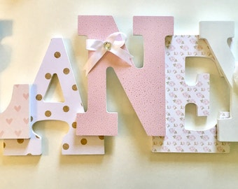 Pink White Gold Girls Nursery Letters, Laney, Blush letters, polka dot letters, baby pink letters, floral letters, ivory letters, ivory rose