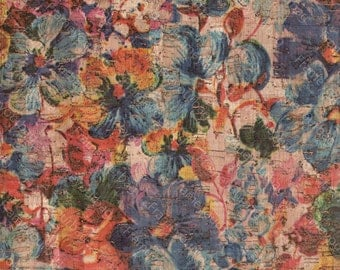 "Cork leather, green product, Portuguese cork fabric, Big flowers Printed pattern 68x50cm / 27.50""x20"""