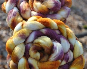 AUTUMN SUNSET color Ashland Bay Merino Tussah Silk 80/21 Ecru Hand painted, spinning fiber, roving, hand dyed, hubcityfibers