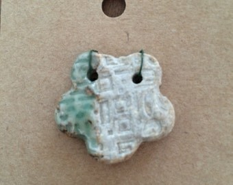 Pendant Bead Necklace, Flower, 2 holes, Green and Natural, Stoneware Ceramic Clay, #468