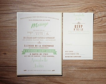 Mint Wedding Invitation, Mint Wedding Invitations, Mint Invitation, Mint Invitations, Green and brown Wedding Invitation, Rustic Invitations