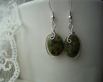 Rhyolite earrings wrapped in Sterling Silver