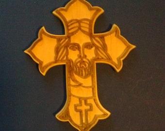 Wooden Cross // Jesus Face