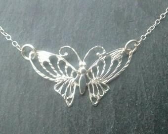 Vintage Silver Butterfly Pendant