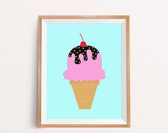 Ice Cream Printable, Ice Cream Print, Ice Cream Poster, Ice Cream Decor, Nursery Printable, Nursery Wall Art, INSTANT DOWNLOAD, 8x10, A3