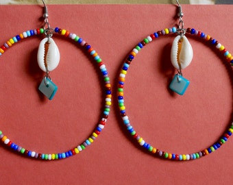 Beaded Cowrie shell hoop earrings