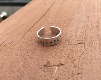 """Personalized Toe ring adjustable band 1/4"""" width 18 gauge you design from my list of stamps"""