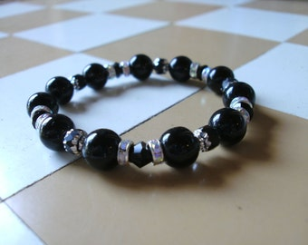 Black Glass with Cathedral Silver Luster and Multi-Tone Rhinestone