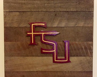 FSU Florida State Seminoles Noles rustic wood sign - alternate