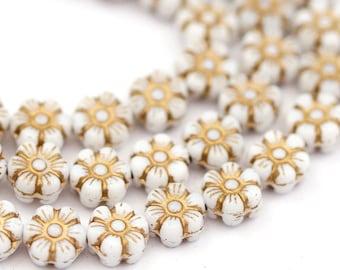 10 Czech glass beads flower 8 mm