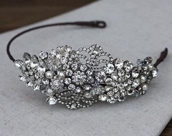 Grace Bridal headband, wedding side headband, bridal headpiece, crystal side headdress