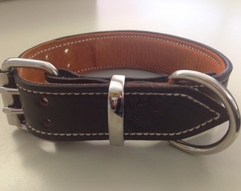Bison Dark Chocolate Brown Leather Dog Collar with Soft Rust Suede Leather Padded Inner Lining