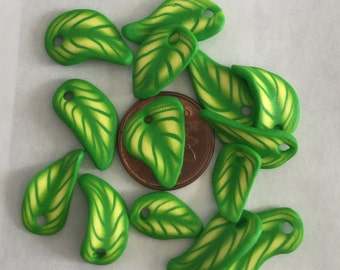 Green and yellow polymer leaves