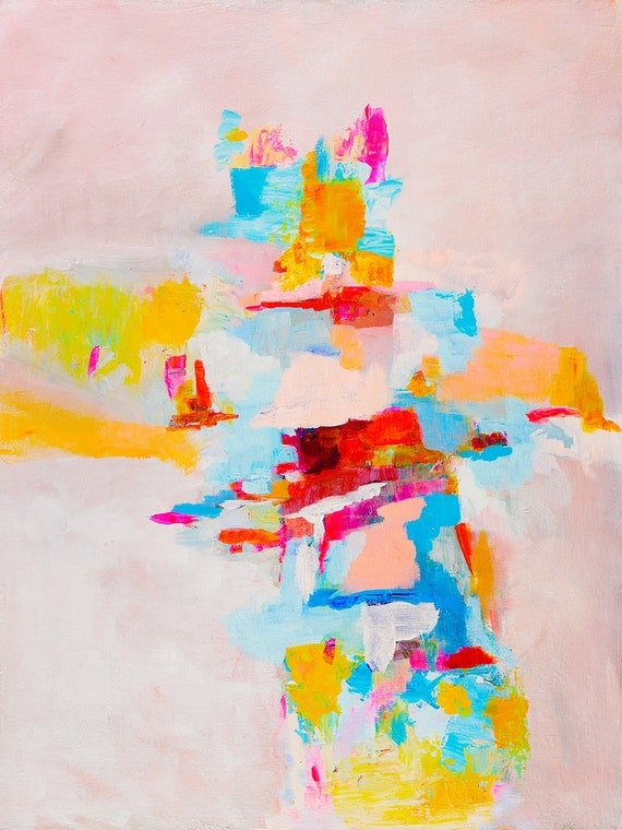 Modern Abstract Print - pink and light blue