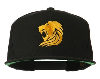 Gold Lion Embroidered Wool Snapback Cap