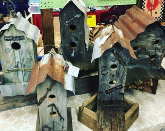 Large Birdhouse reclaimed  barn wood,  metal and corrugated tin roof