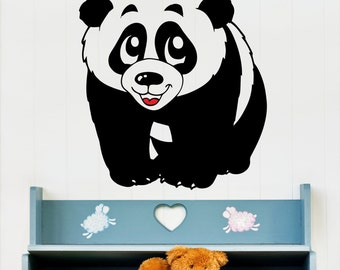 Little panda wall decal, Animals wall decal, Nursery room wall decal, Kids room wall decal, Baby's room wall decal, Baby panda decal 099