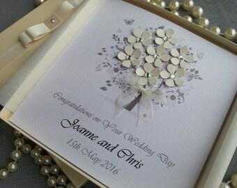 Wedding Day Congratulations Card Handmade Personalised Boxed or Envelope  Keepsake Parents Grandparents Friends Bride Groom 3D Ivory