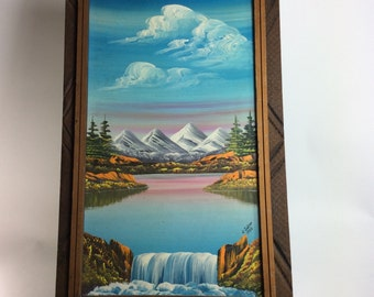 Vintage N. Zinkan 23x14 oil painting of Mountain scape in wood frame 1980