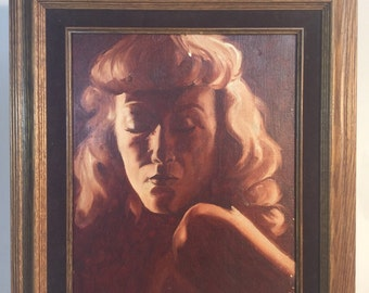 Red oil painting of women eyes close wooden brown frame 16in. x 19in.