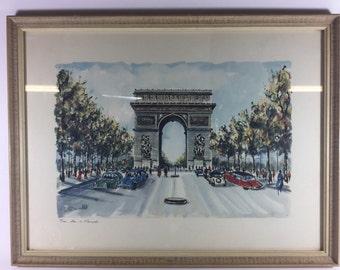 C. Ducollet Paris Arc de Triomphe vintage prints framed 19in. x 15in.