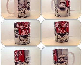 personalised mug cup star wars storm trooper force awakens r2d2 c3po gift present film