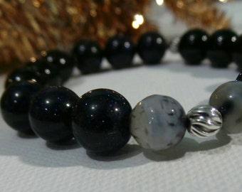 Bluesand, black onxy, grey agate,sterling silver, stretchable bracelet