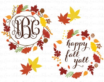 Fall Wreath Design for Silhouette and other craft cutters (.svg/.dxf/.eps/.pdf/.png)