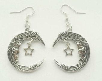 Beautiful Handmade Crescent Moon and Stars Earrings