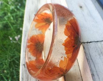 Orange Flower Bangle - Resin Bangle - Real Pressed Flower Bracelet - Bangle - Chunky Bangle - Pressed Flower Bangle - Orange Bangle