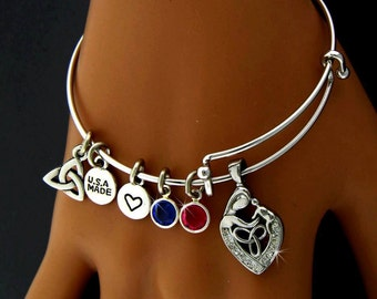 A Celtic Mother's Love Birthstone TRINITY CHARM BANGLE