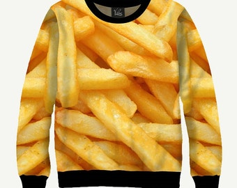 French Fries, Fast Food - Men's Women's Sweatshirt | Sweater - XS, S, M, L, XL, 2XL, 3XL, 4XL, 5XL