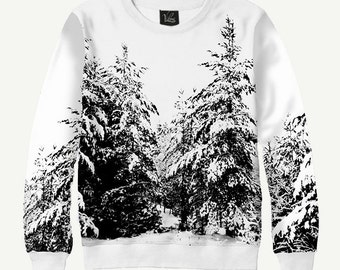 Spruce & Snow, Winter Forest - Men's Women's Sweatshirt | Sweater - XS, S, M, L, XL, 2XL, 3XL, 4XL, 5XL