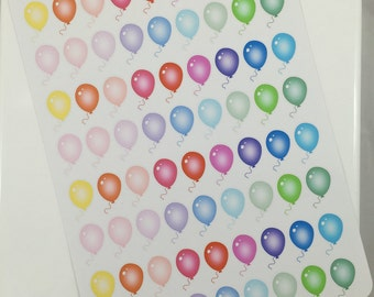 Colorful Balloons Set #1 Planner Stickers! Perfect for your Erin Condren Life Planner! Set of 72 stickers!