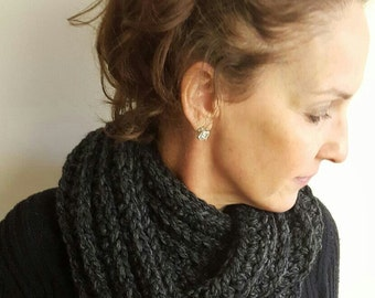 Crocheted Infinity Scarf in Charcoal