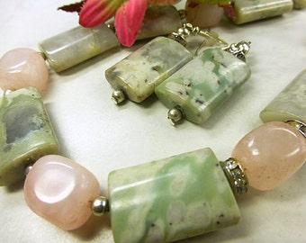 Jade set with Rose Quartz